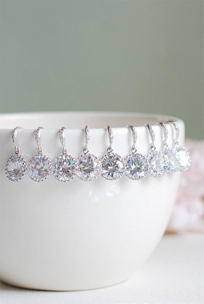 Hochzeit - Set of 7, Seven Pairs Bridal Earrings, Wedding Earrings, Silver Cubic Zirconia Earrings. Bridesmaid Earrings, Clear Crystal Drop Earrings