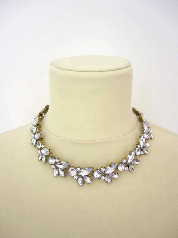 Hochzeit - Rhinestone Necklace Wedding Bridal Chunky Statement Retro Choker Necklace Woman Jewelry Accessory