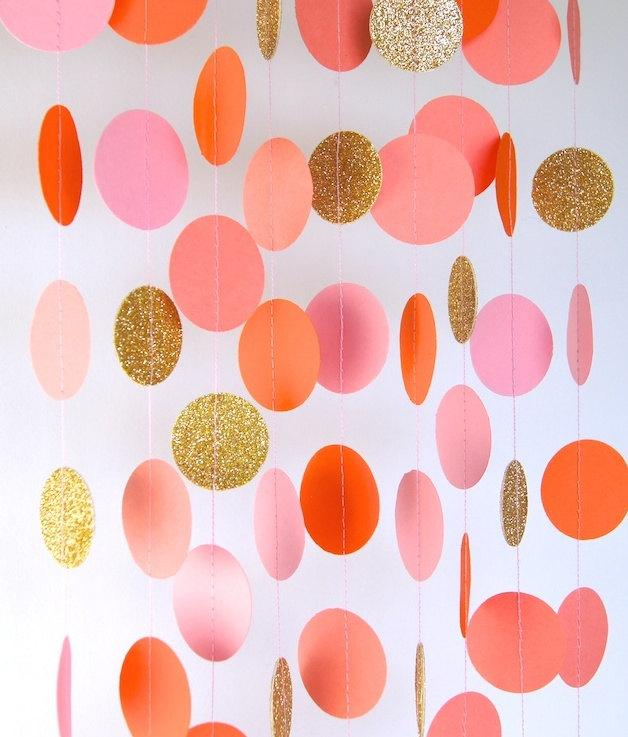 Garland Paper In Blush Pink Orange C And Gold Bridal Shower Baby Party Decorations Birthday Decor