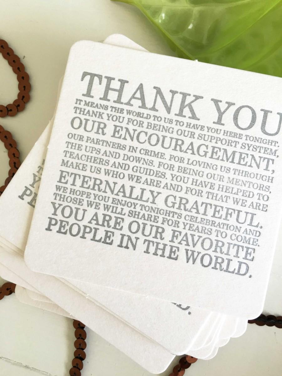 Wedding - Wedding Coasters Letterpress Wedding Thank You Coasters