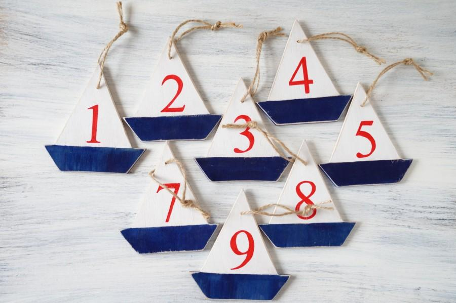 Mariage - Table numbers wedding Nautical wedding Wooden table numbers Sailboats Wedding table numbers Reception table numbers