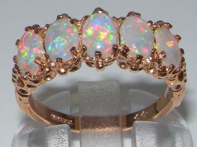 Hochzeit - English 14K Rose Gold Genuine Fiery White Opal Victorian Half Eternity Band Engagement Ring -Made in England- Customize:9K,14K,18K Gold