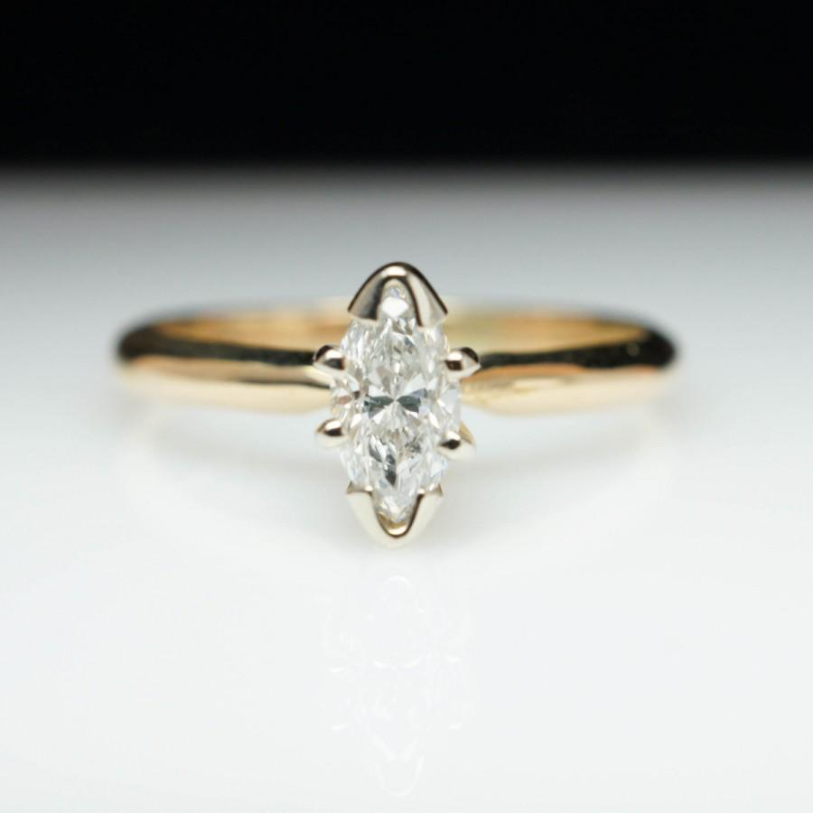 Hochzeit - Vintage .32ctw Marquise Diamond Engagement Ring 14k Yellow Gold