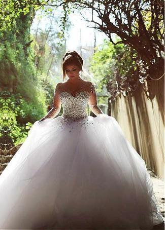 Wedding - Ball Gown Sparkly Rhinestone Beaded Bodice Long Sleeves Wedding Dress,apd1726