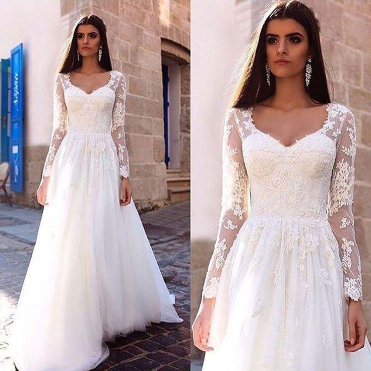 زفاف - A-line Ivory Tulle And Lace Queen Anne Neck Wedding Dress With Full Sleeves,apd1783