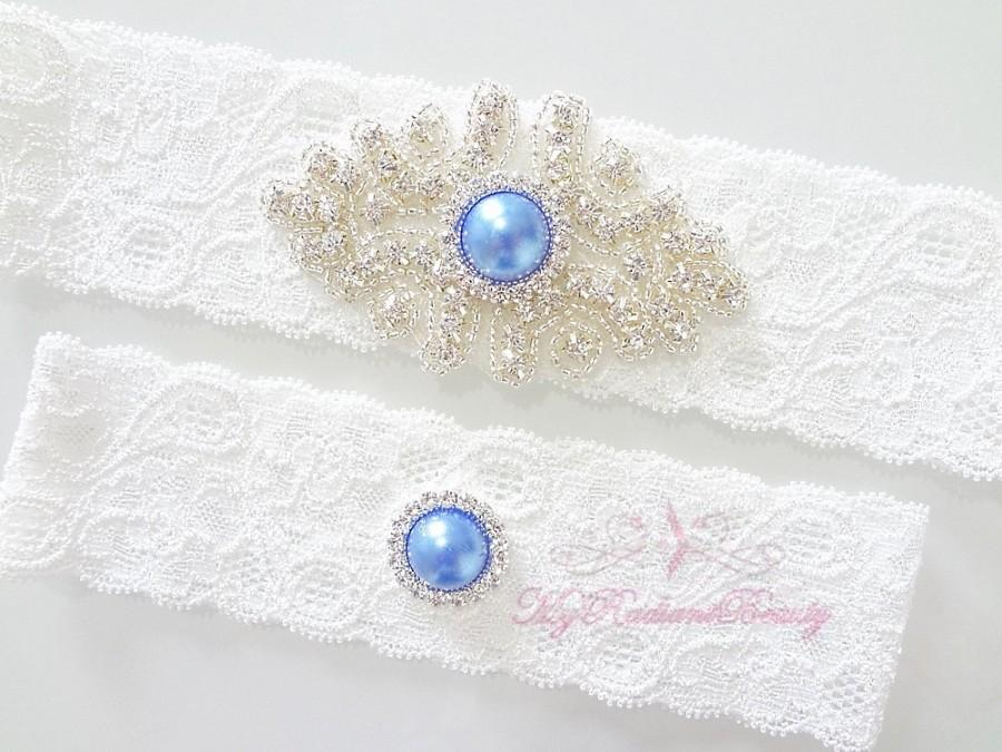 Hochzeit - Wedding Garter, Bridal Garter Set, Crystal Applique Garter, Navy Blue Rhinestone Garter, Handmade Custom Garter, Beaded Garter GTA0041NB