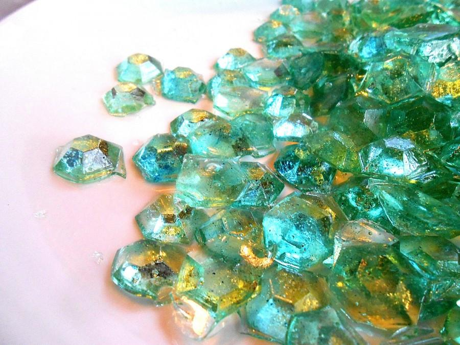Mariage - Sea Water, Glass Candy Gems,  Varigated Aquas,  Real Champagne, Sea Glass, Ice Theme