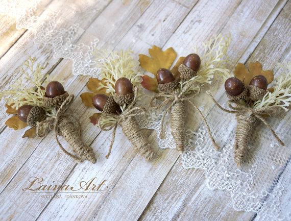 Boda - Fall Wedding Boutonnieres Groom Boutonnieres Oak Cones Leaf Boutonnieres Groomsmen Boutonnieres