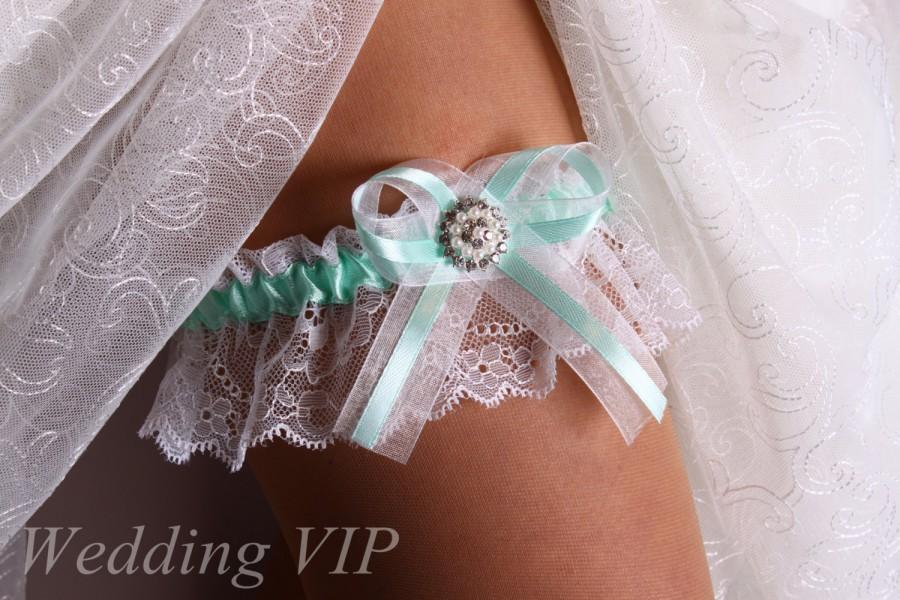 Hochzeit - Garter Mint lace garter Aqua wedding garter Wedding garter White lace garter Bridal garter Lace garter Wedding garter belt  Garter wedding