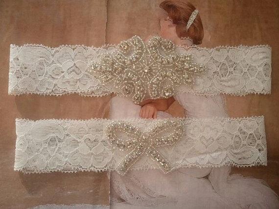 Hochzeit - Wedding Garter, Bridal Garter, Garter Set - Crystal Rhinestone - Style G2054