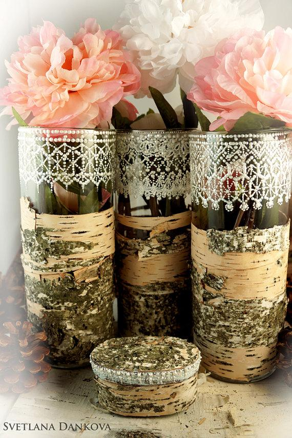 Wedding Vases Birch Bark Hand Painted Lace Glass Vases Candle