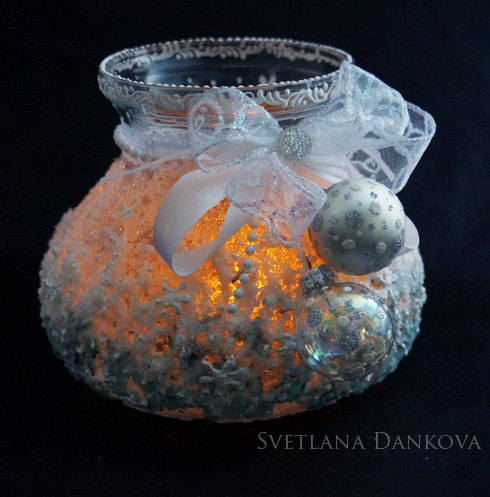 Wedding - Candle Holder Glitter Snow