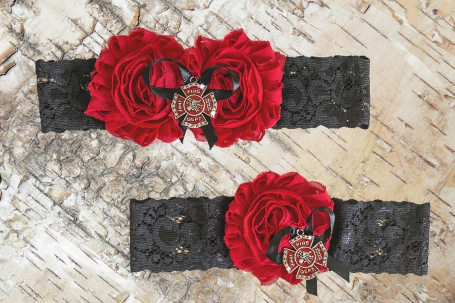 Wedding - Fireman Garter Set Firefighter Wedding Red Black Garters  Bridal Garter and Toss Garter Cross Charm