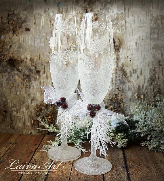 Wedding - Wedding Champagne Glasses Winter Wedding Christmas Wedding Holiday Wedding Champagne Flutes