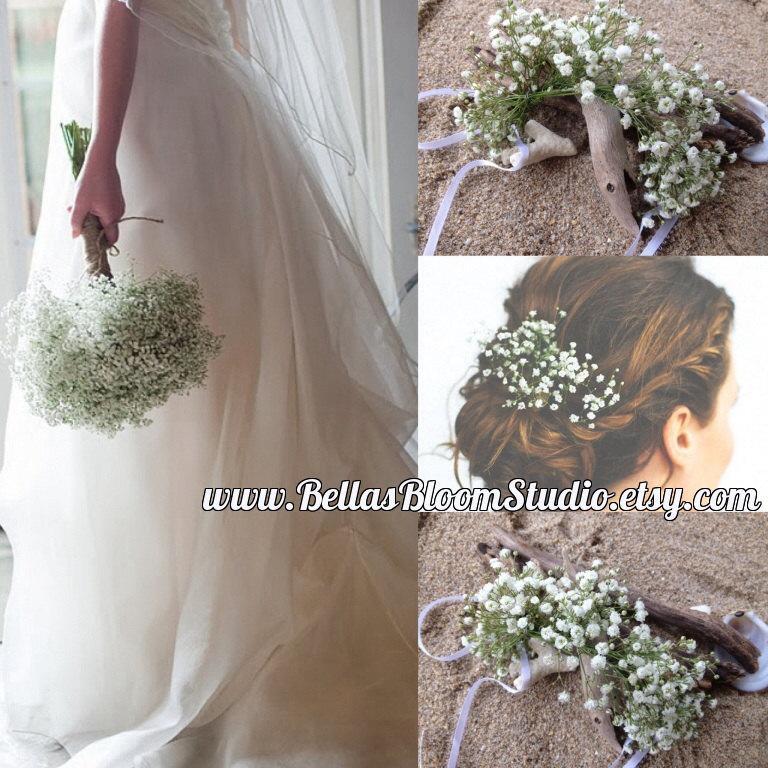 Hochzeit - Fresh Flower crown, Baby Breath Crown Vine, Baby Breath halo, Dried Flower Hair Vine, baby breath headpiece, fresh Flower Hair vine Etsy