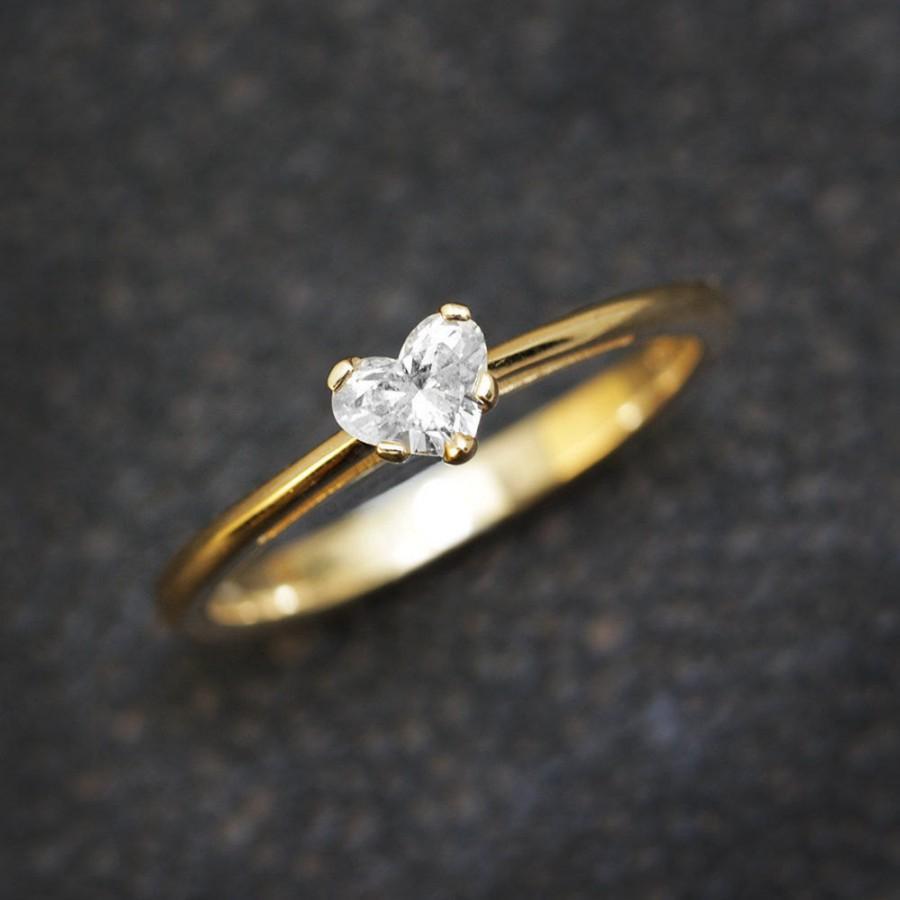 Hochzeit - Heart Diamond Ring, Solitaire Ring, 14K Gold Ring, 0.30 CT Diamond Ring, Delicate Ring, Unique Engagement Ring, Heart Ring