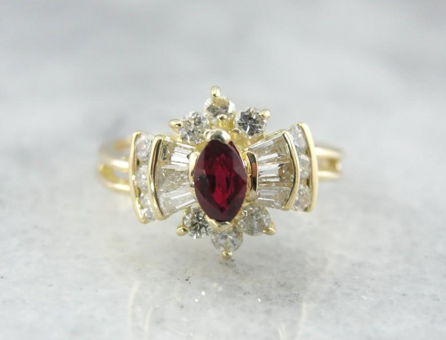 Mariage - Amazing Marquise Cut Ruby and Diamond Halo Ring - ZD04E0-P