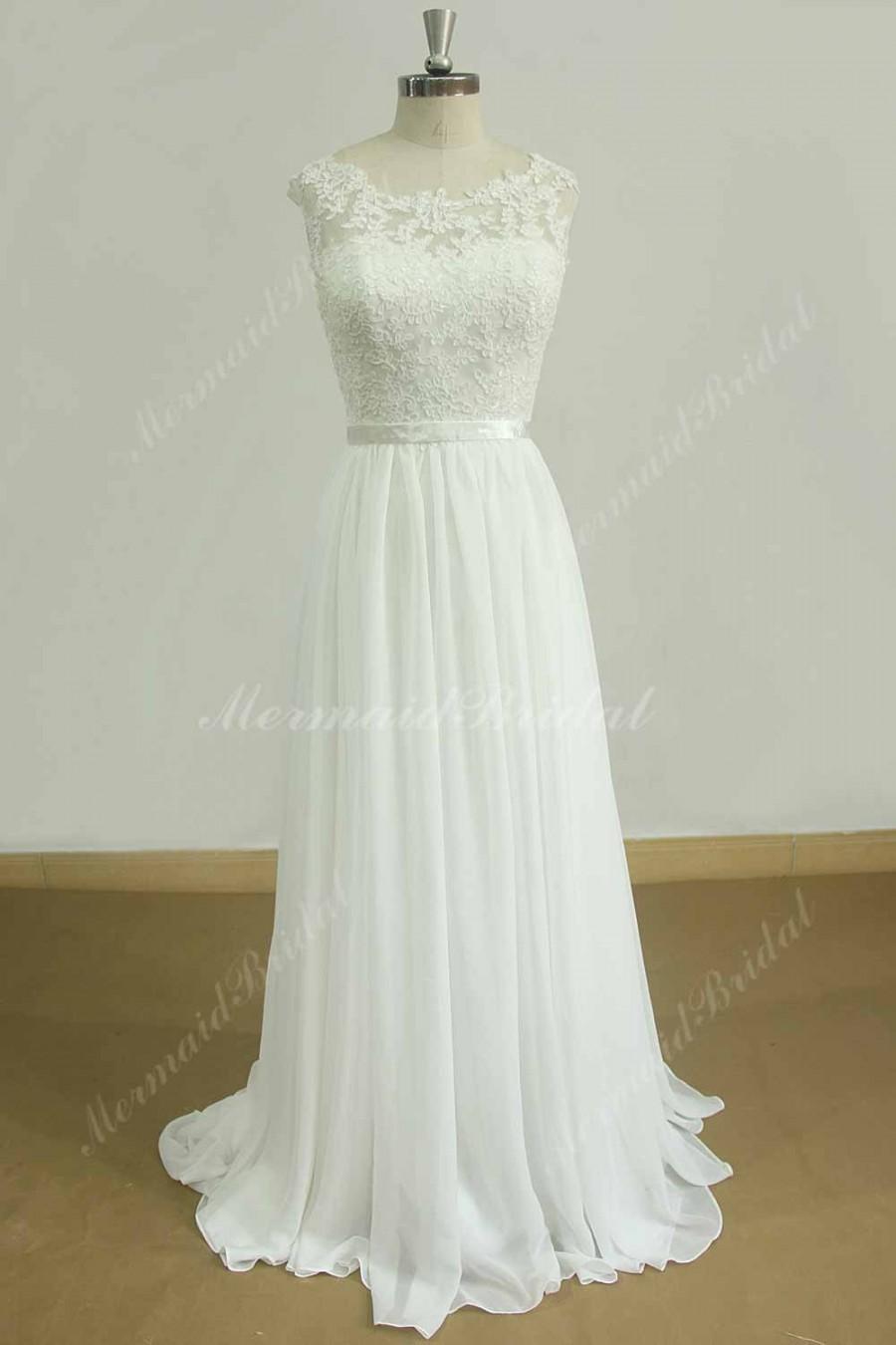 Wedding - Stunning open back A line chiffon lace  beach wedding dress with sweetheart neckline