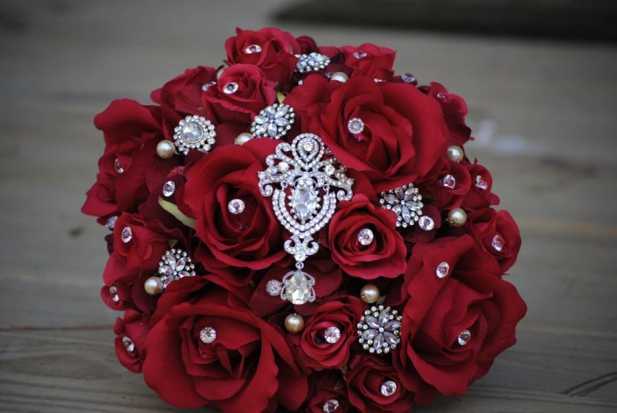 Свадьба - Custom Order Brooch Rose Bridal Bouquet