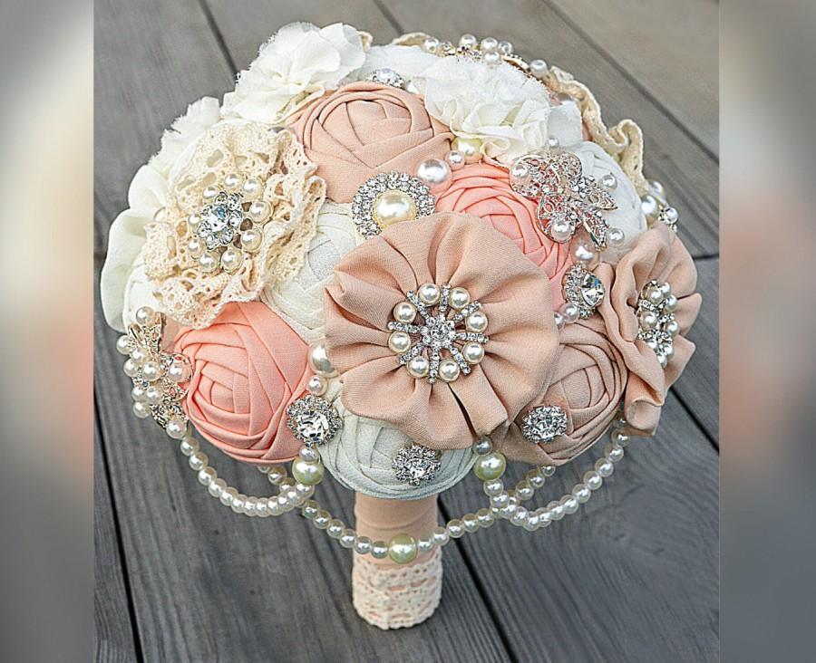 Mariage - SALE!!!Brooch Bouquet. Ivory Fabric Bouquet, Vintage Bouquet, Rustic Bouquet, Unique Wedding Bridal Bouquet