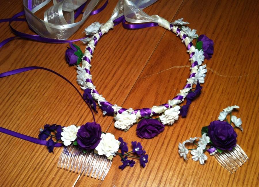 Свадьба - 3Pc Bridal Hair Accessories Set Custom Ribbon Floral Crown Bride Bridesmaid Flower Girl Hairpiece Halo Headband Wreath Comb Purple S-B02