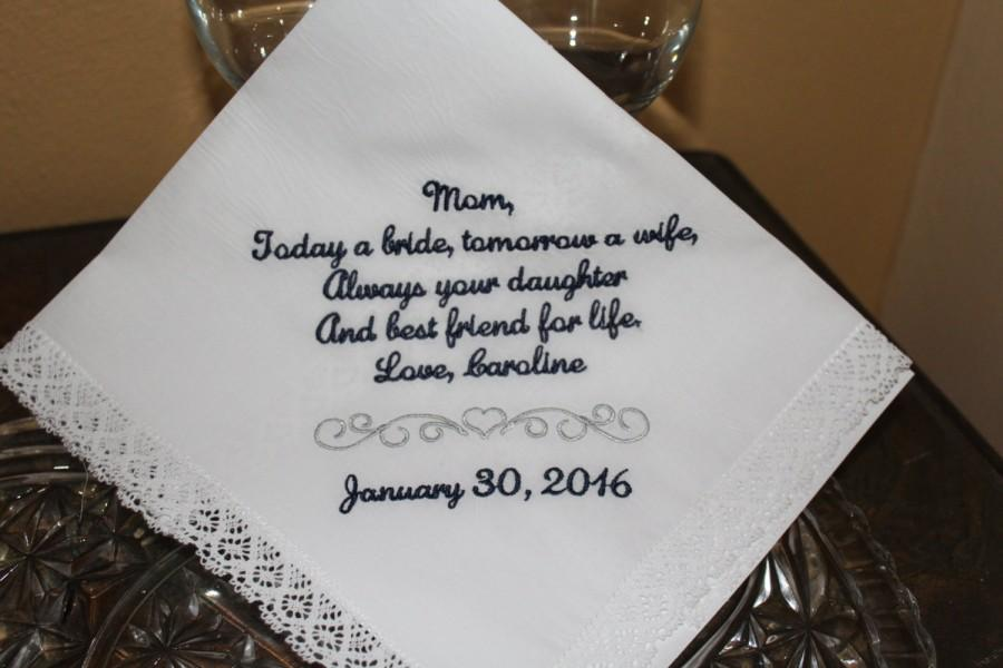 Wedding Gifts For Parents Handkerchief : Parent Of The Bride Gift Wedding Handkerchief Mother Of The Bride Gift ...