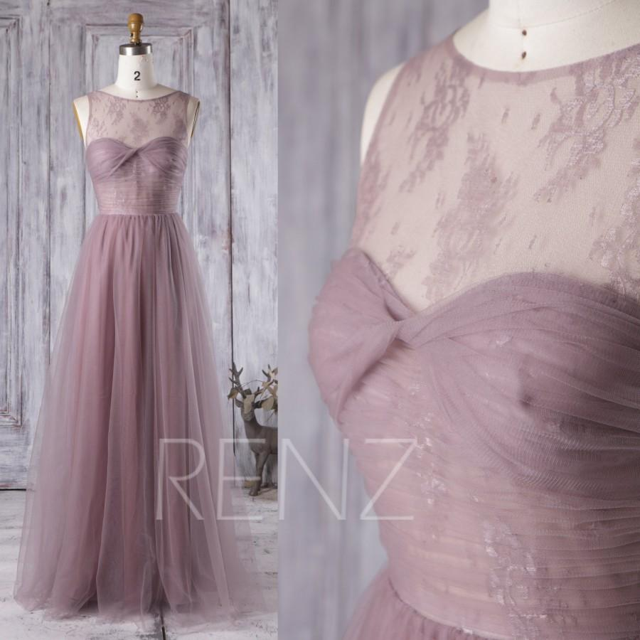 Wedding - 2016 Long Dusty Rose Bridesmaid Dress, Sweetheart Lace Illusion Wedding Dress, A Line Evening Gown, Open Back Prom Dress Floor Length(LS165)