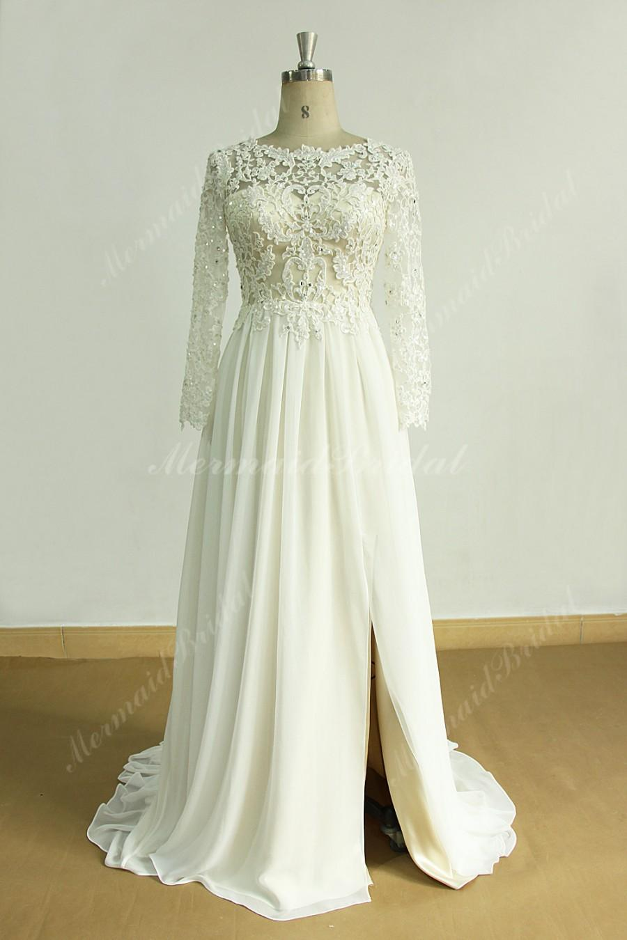 Wedding - Ivory a line chiffon lace wedding dress with champagne lining and slits