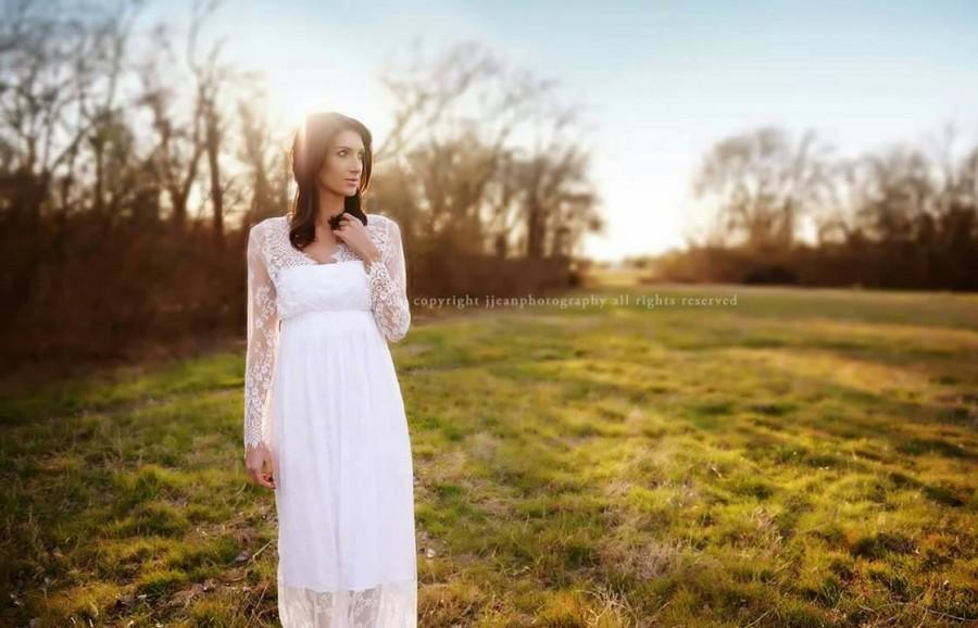 """Wedding - ADD ON: White Bandeau Slip for """"Makayla"""" Long Sleeved Transparent Lace Gown"""