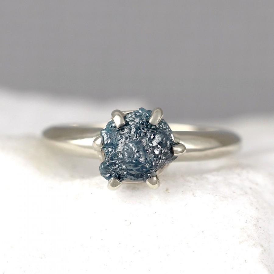 Blue Raw Diamond Engagement Ring  14k White Gold  Rough Diamond Gemstone  Ring  April Birthstoneanniversary Ringconflict Freeethical