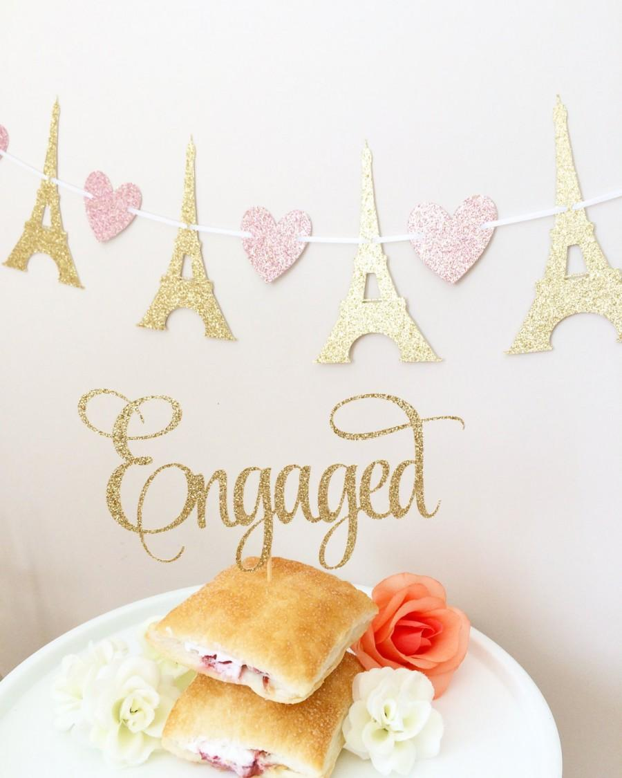 Свадьба - Engaged Cake Topper,  Glittery Cursive (cute party supplies, engagement party, simple decorations)