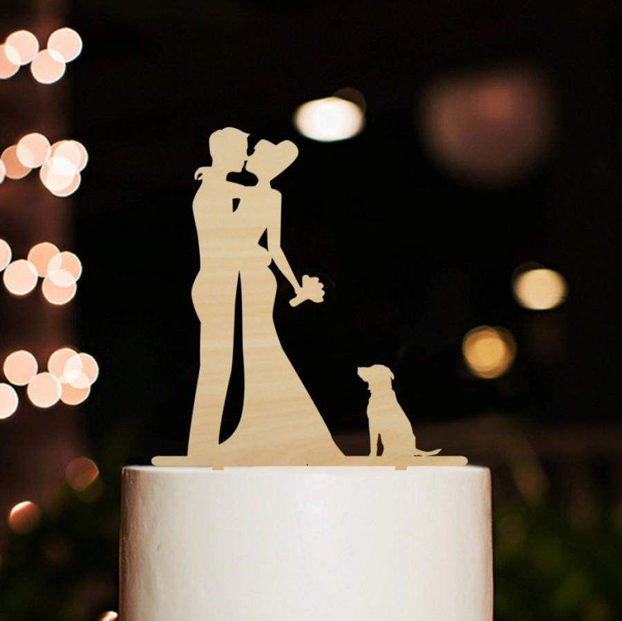 Свадьба - Rustic Wedding Cake Topper with Dog-Silhouette Wedding Cake Topper-Bride and Groom Kiss Cake Topper-Personalized Cake Topper Engagement