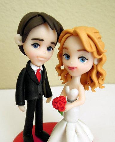 "Свадьба - Standard ""3 Groom and Bride - Wedding Cake Topper - ORIGINAL OOAK Miniature Sculptures - Decor"