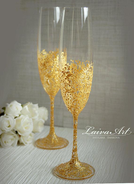 Свадьба - Gold Wedding Champagne Flutes Wedding Champagne Glasses Gatsby Style Wedding Toasting Flutes Gold Wedding Set of 2