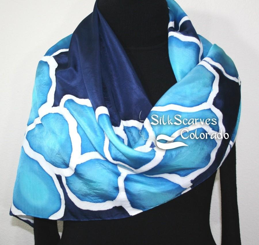 Hand Painted Silk Scarf Turquoise Navy Blue Dyed Flowers Scarves Colorado Extra Large 35x35 Square