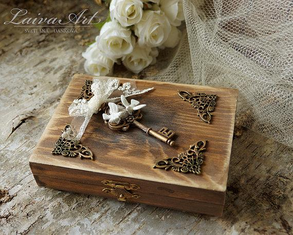 Wedding - Personalized Wedding Rustic Ring Bearer Box Ring Pillow Box Rustic Vintage Wooden Ring Bearer Box