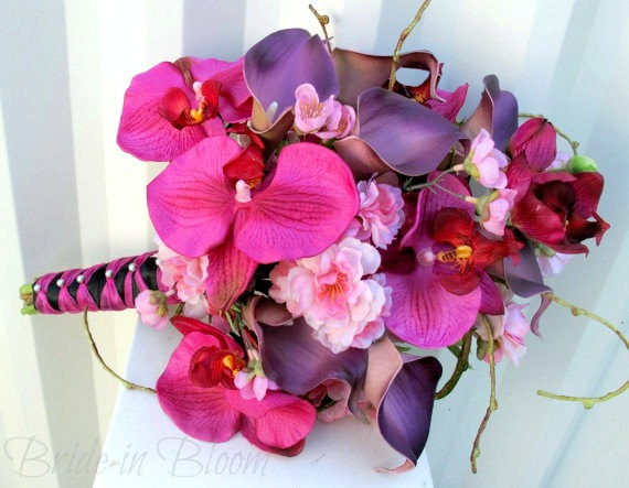 Wedding - Hot Pink Brides bouquet ~ Orchid Calla Cherry blossom Silk Wedding Flowers