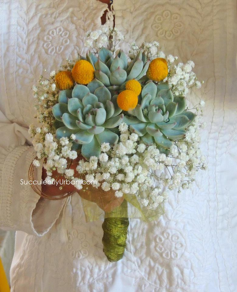 Свадьба - Triple succulent bouquet - Wedding succulent bouquet, Bridesmaidbouquet