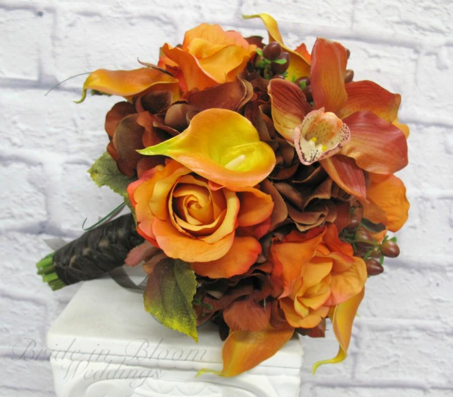 Wedding Bouquet Autumn Fall Bridal Bouquet Real Touch Orchids