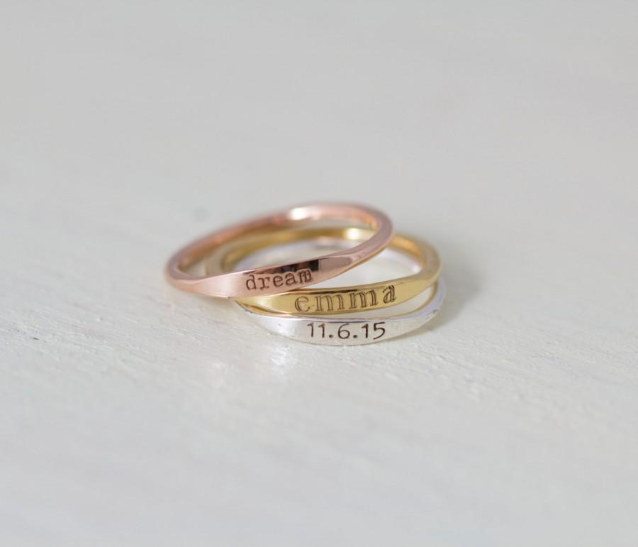 Mariage - 30% OFF- Dainty Engraved Name Ring- Stackable Rings- Personalized Name Ring- Stackable thin band- Mother Gift