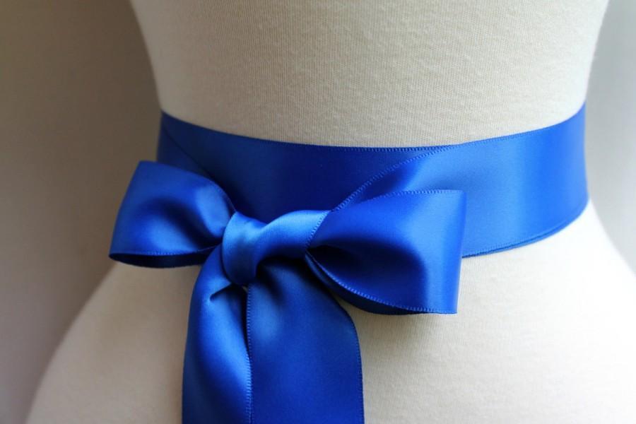 60ad655d1fc Royal Blue Satin Sash Belt - Double Faced Satin Ribbon Sash - Beach Summer  Wedding - Bridal Bridesmaids Flower girl Sashes - Many Colors