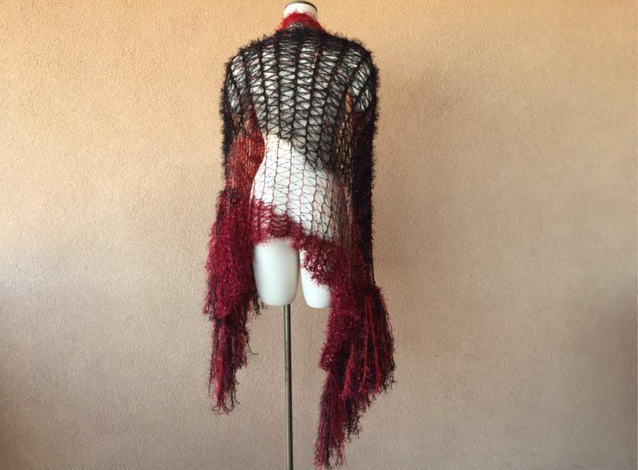 Свадьба - Red Wedding Shawl Shoulder Wrap Shoulder Shawl Knitted Scarf Shawl, Lace Scarf Shawl Red and Black Stevie Nicks Shawl Goth Shawl