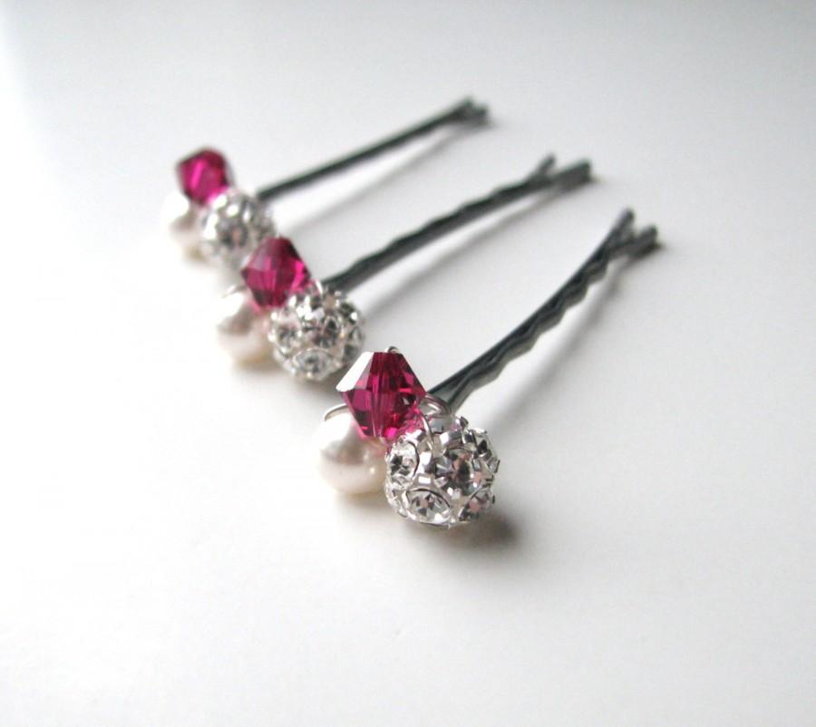 Mariage - Raspberry Pink Crystal Hair Pin Cluster, Swarovski Bobby PIns Ruby