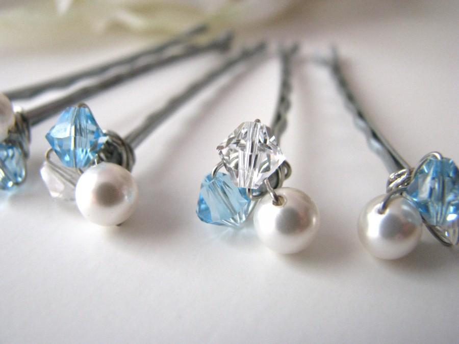 Mariage - Bridal Hair Pin Clusters Crystal and Pearl White and Blue