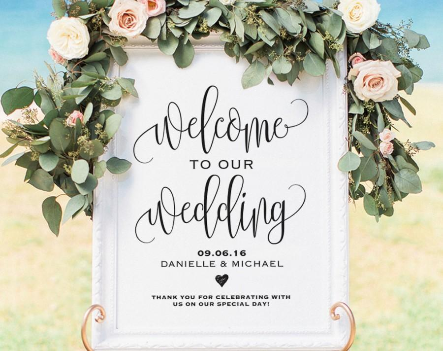 photograph regarding Printable Poster Board identified as Welcome Wedding day Signal, Welcome Marriage Printable, Marriage ceremony