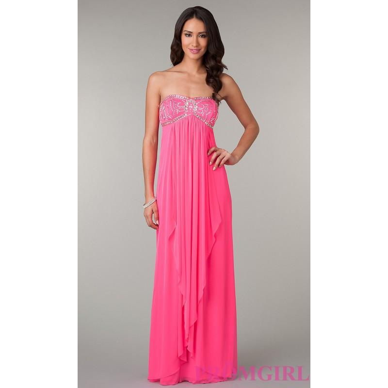 Long Strapless Neon Pink Prom Dress By La Glo Brand Prom Dresses