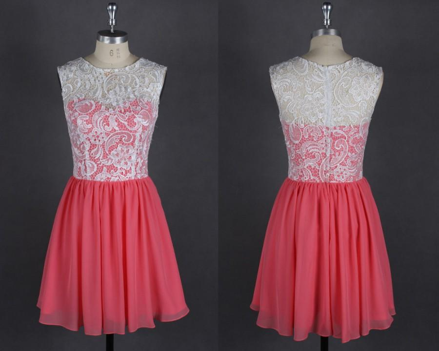 Short Coral Bridesmaid Dress Chiffon White Lace Bridesmaid ...