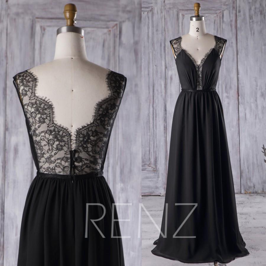 Black Lace Long Wedding Bridesmaid Dresses