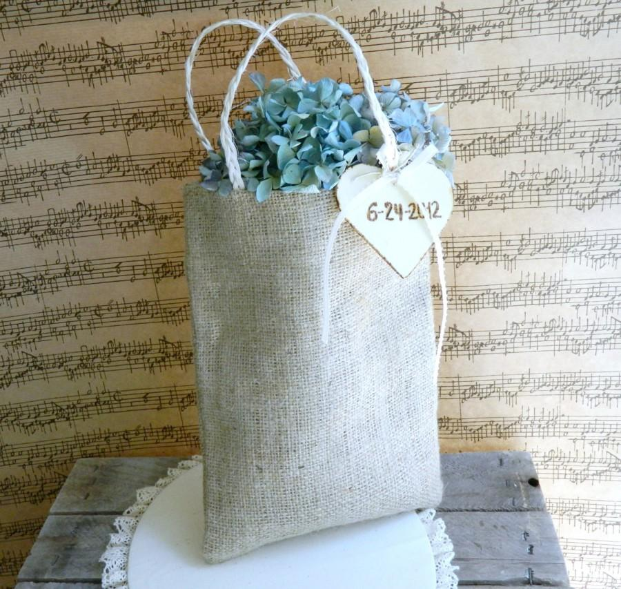 Mariage - Burlap Flower Girl Basket Rustic Wedding Decor Personalized Wood Heart Charm