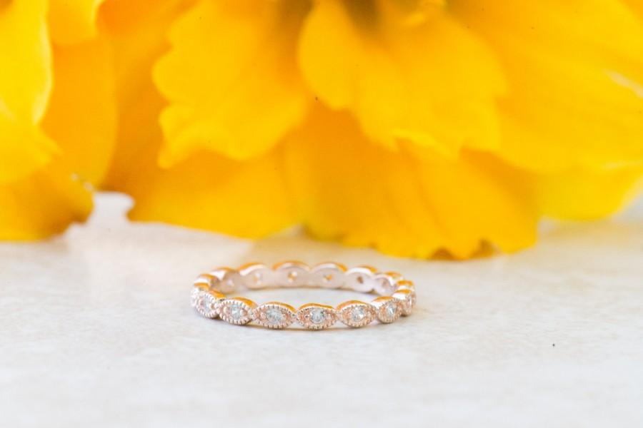Mariage - Art Deco Wedding Band, Full Eternity Ring, Wedding Ring, Milgrain Ring, Marquise Ring, Diamond Simulants, Rose Gold Plated, Sterling Silver